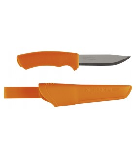 Morakniv 12050 Poignard Bushcraft orange, lame 11 cm inox, manche gomme orange, étui rigide orange.