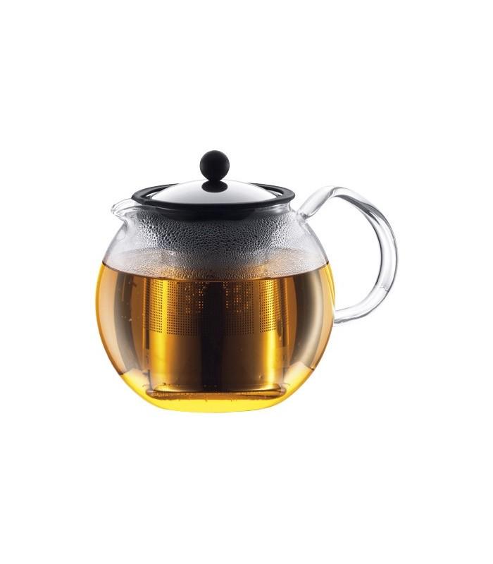 Bodum 1801.16 Théière Assam à piston, anse verre, 1 litre (8 tasses), filtre et couvercle inox.