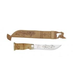 Marttiini 253010 Poignard Lapon, lame 15 cm inox, manche bouleau, étui cuir décoré à lacet