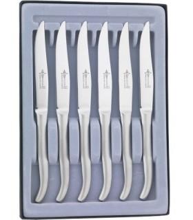 G.David 2899 Coffret 6 couteaux table Laguiole monobloc, 23 cm, inox microdentés. Garantis lave-vaisselle