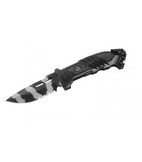 Puma Tec 323312 Couteau, lame camouflé semi-dentée et à trous acier 420, manche 12 cm aluminium noir inserts pacca