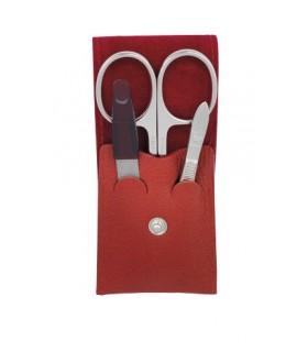 Dovo Soligen 960.031 Trousse manucure, cuir rouge (ciseaux pte de glaive Percy, 9 cm courbes, lime diamant, pince épiler