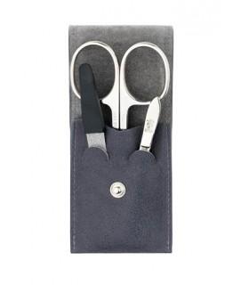 Dovo Soligen 960.111 Trousse manucure, cuir gris (ciseaux pte de glaive Percy, 9 cm courbes, lime diamant, pince épiler nickelée