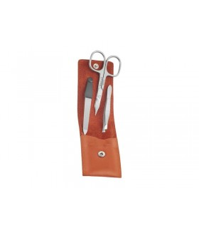 Dovo Soligen 1029.076 Trousse manucure cuir orange (cx pointe de glaive courbes 9 cm, lime diamant, pince épiler inox satiné