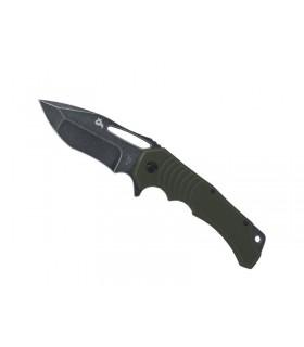 Blackfox bf.721g Couteau HUGIN , lame à trou acier 440C finition « blackwash » avec flipper, manche 13 cm G10 vert