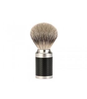 Mühle 091m96 Blaireau 0 cm pur argenté (silvertip badger monture inox brossé et inox revêtement DLC noir.