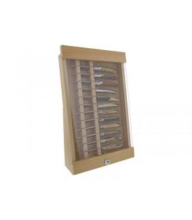 Manufacturer 44105 Vitrine 45 x 29 x 5 cm hêtre naturel / vitre en verre pour 12 couteaux de poche, avec serrure.