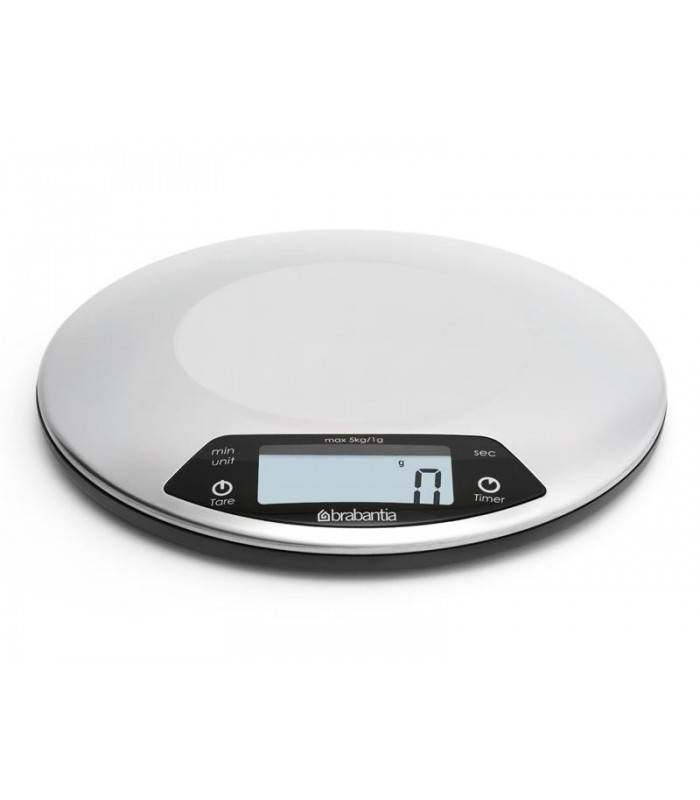 Brabantia 480560 Balance de cuisine avec minuteur BRABANTIA « PROFIL LINE », plateau acier brossé Ø 200 x 24 mm, écran LCD