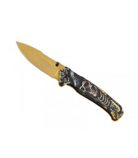 Herbertz 589512 Couteau 12 cm décor squelette au recto/inox au verso Revêtement titanium doré sur la lame et le verso du manche