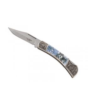 Herbertz 590211 Couteau 11 cm acier avec mitres gravées inserts décor loups