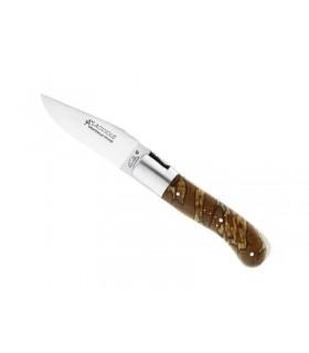 Fontenille Pataud 9511 Couteau, lame mate, en bt de manche acier 14C28N, mitre mate, manche 10,5 cm bois hêtre debout stabilisé