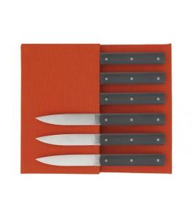 Perceval 94706.ga Coffret 6 Couteaux 10 cm polyacétal gris anthracite